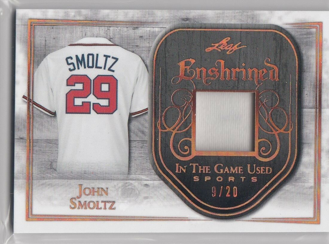 2018 Leaf in the game used John Smoltz Game Worn jersey card /20