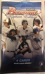 2020 Bowman Sapphire Factory Sealed Pack ..4 Short Print Sapphire Refractor cards per pack .  look for Randomly inserted autos and Numbered parallels