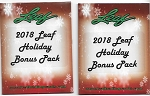 2x Pack Lot. 2018 Leaf Holiday Packs. NEW Release!! Printing Plate / Relic or Auto per pack