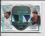 2018 Leaf in the game used Ken Griffey jr / Allen Iverson Dual Game worn Patch /4