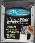 Ultra Pro toploader combo back with 25 soft sleeves included