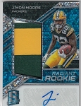 2018 Panini Spectra J'Mon Moore rookie Blue Refractor 3 color Patch / auto rc/99