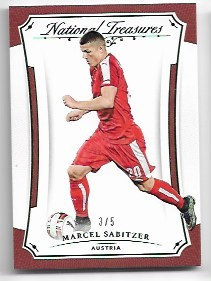 2018 National Treasures Marcel Sabitzer Emerald Parallel Card /5