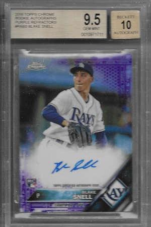 2016 Topps Chrome Blake Snell Purple Refractor Auto rc /250 BGS 9.5 Gem Mint