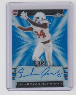 2019 Leaf Metal Draft Lil'Jordan Humphrey rookie Blue Refractor Auto rc /35