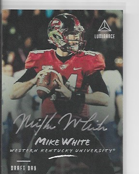 2018 Panini Luminance Mike White draft day silver ink Auto rc