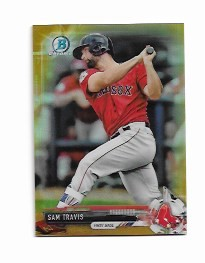 2017 Bowman Chrome Mini Edition Sam Travis prospect GOLD Refractor /50
