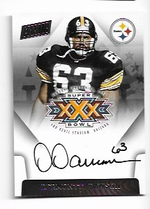 2017 Panini Vertex Dermontti Dawson Super Bowl on card Auto