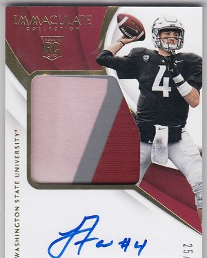 2018 Immaculate Collection Collegiate #123 Luke Falk RC Auto Patch /99