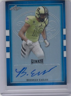 2017 Leaf Army All American Brennan Eagles Blue Refractor Auto rc /30